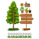Gardening Items With Tree and Fence - GraphicRiver Item for Sale