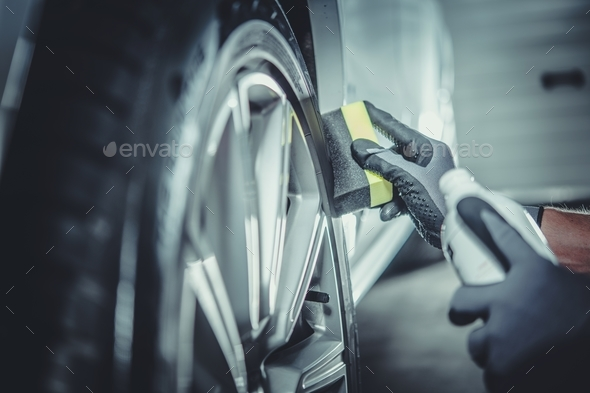 Car Wheel and Tires Cleaning - Stock Photo - Images
