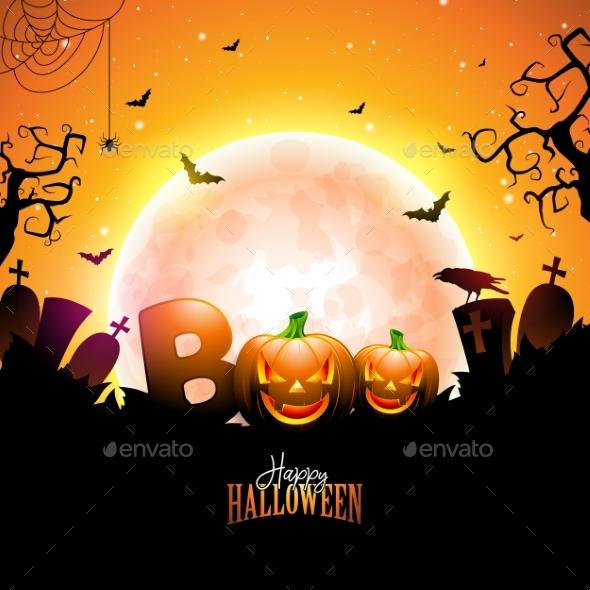 Boo Happy Halloween Design with Typography - Halloween Seasons/Holidays