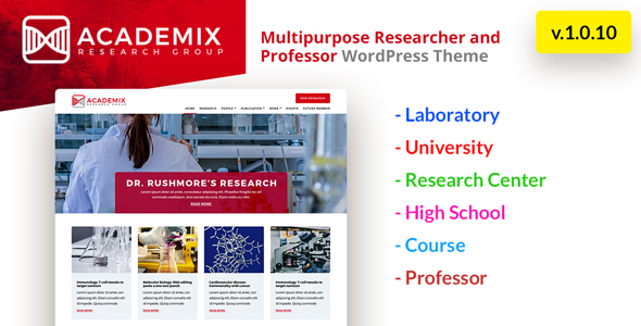 Academix - Multipurpose Education, Researcher and Professor WordPress Theme - Education WordPress