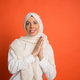 Happy arab woman in hijab. Portrait of smiling girl, posing at studio background - PhotoDune Item for Sale