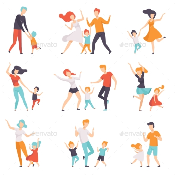 Parents Dancing with Their Children Set - People Characters