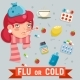 Female Cold Flu Disease Illness Sickness Medicine - GraphicRiver Item for Sale