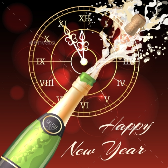Happy New Year Champagne Poster - New Year Seasons/Holidays