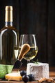 Serving cheese with wine and grapes - PhotoDune Item for Sale