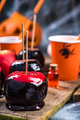 Sweet red candy apples on Halloween party table - PhotoDune Item for Sale