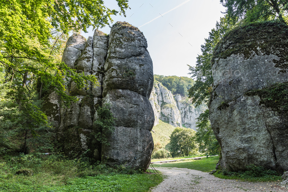 Cracow Gate rock formation in Ojcow National Park, Krakow,Poland - Stock Photo - Images