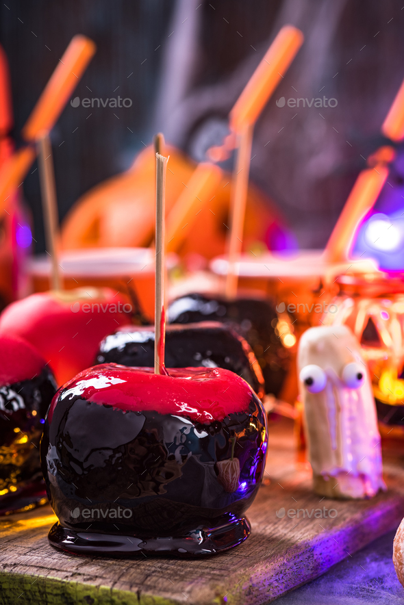 Creative candy apples, Halloween party food - Stock Photo - Images