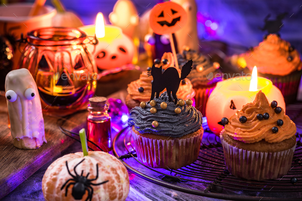 Spooky creative food for kids Halloween party - Stock Photo - Images