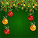 Christmas Decorations on Green Knitted Background - GraphicRiver Item for Sale