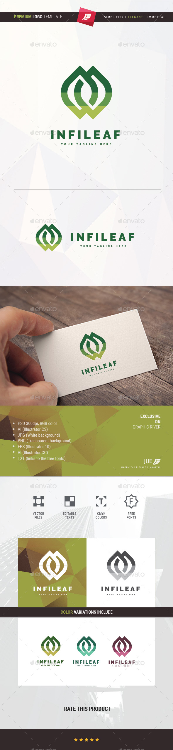 Infinity Leaf Logo - Nature Logo Templates