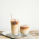 Iced coffee drink in tall glasses on board, copy space - PhotoDune Item for Sale