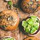 Flat-lay of healthy vegan burgers with beetroot patties, close-up - PhotoDune Item for Sale