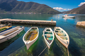Three small fishing boats in a Kotor bay - PhotoDune Item for Sale