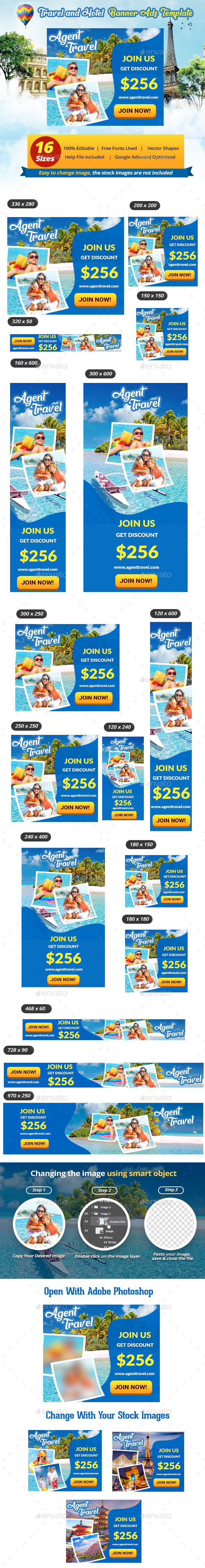 Hotel and Travel Banner Ads Template - Banners & Ads Web Elements