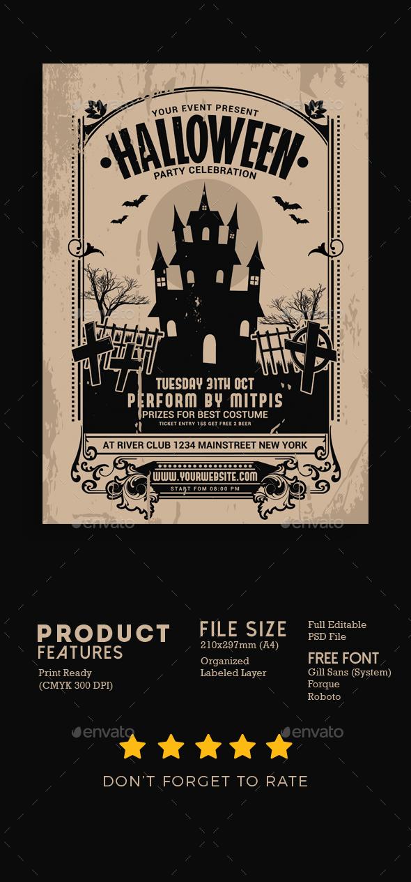 Halloween Party Vintage Flyer - Events Flyers