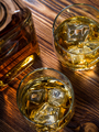 Two glasses of whisky and a bottle - PhotoDune Item for Sale