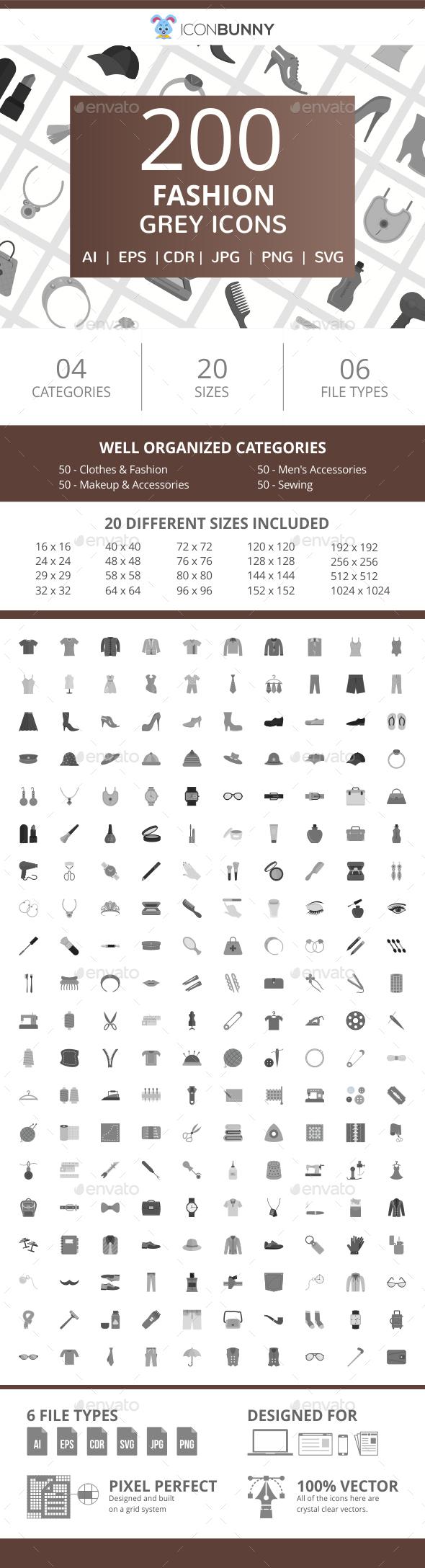 200 Fashion Flat Greyscale Icons - Icons