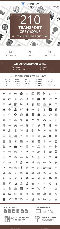 210 Transport Flat Greyscale Icons - Icons