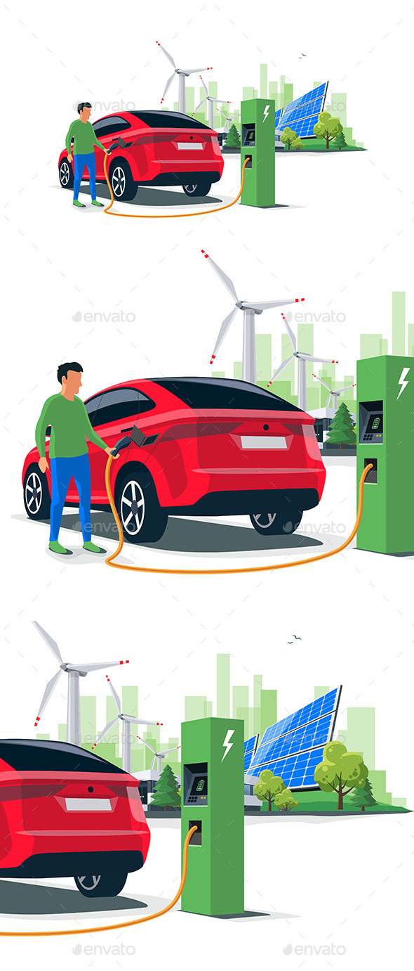 Man Charging an Electric Car - Industries Business