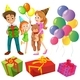 Birthday Set With Family and Presents - GraphicRiver Item for Sale