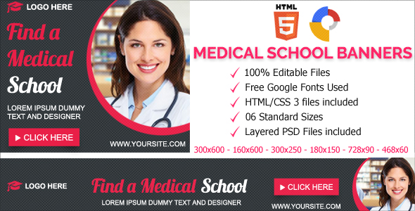 Medical School Animated HTML5 Banner Ads (GWD)            Nulled