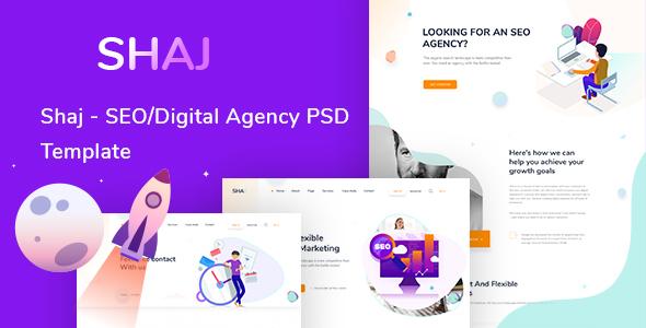 SHAJ - SEO/Digital Agency PSD Template - Creative PSD Templates