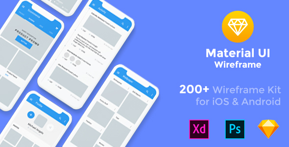 Baseframe - Wireframe UI KIT 200++ Sketch - XD - PSD Template - Sketch Templates