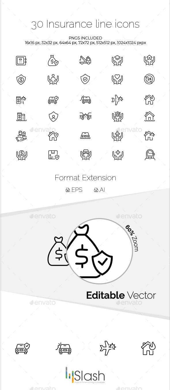 30 Insurance Line Icons - Business Icons