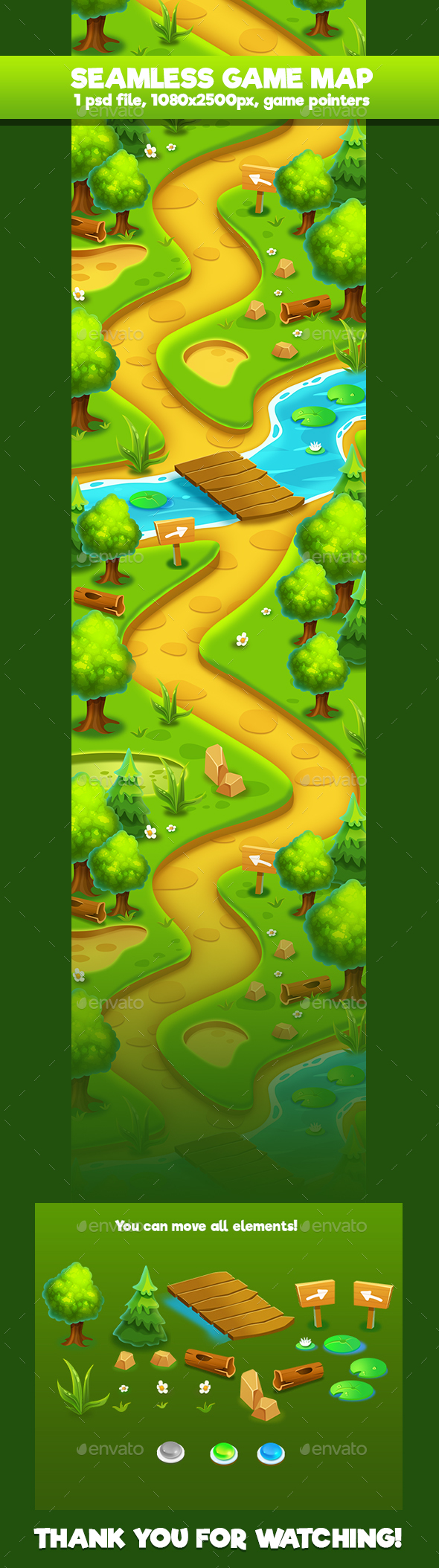 Forest Seamless Game Map - Backgrounds Game Assets