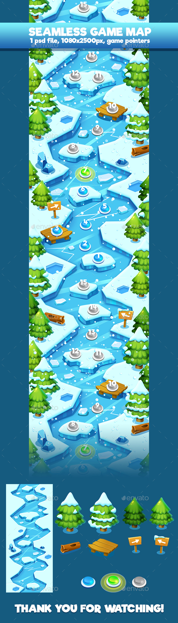 Winter Seamless Game Map - Backgrounds Game Assets
