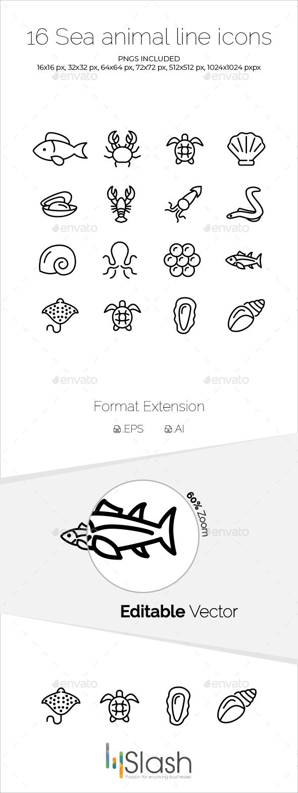 16 Sea Animal Line Icons - Animals Characters