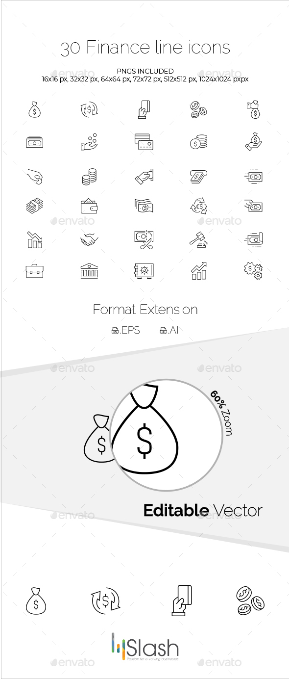 30 Finance Line Icons - Business Icons