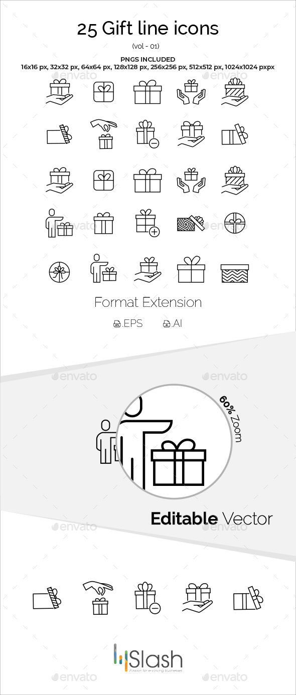 25 Gift Line Icons - Icons