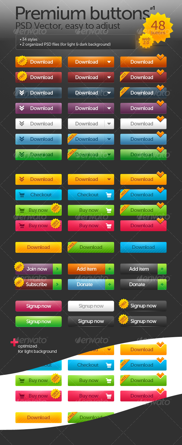 Premium buttons #1 - Buttons Web Elements