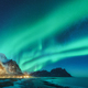 Northern lights in Lofoten islands, Norway. Green Aurora borealis - PhotoDune Item for Sale
