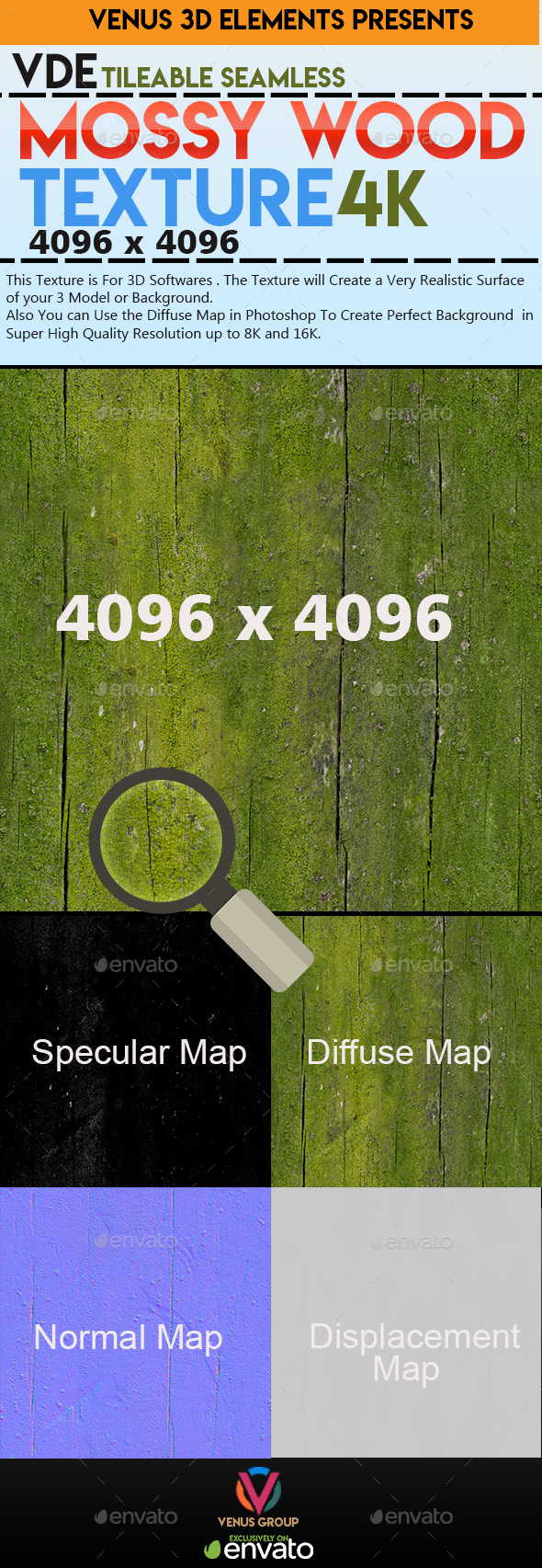 VDE_Mossy_Wood_4K_Texture_Seamless&Tileable - 3DOcean Item for Sale