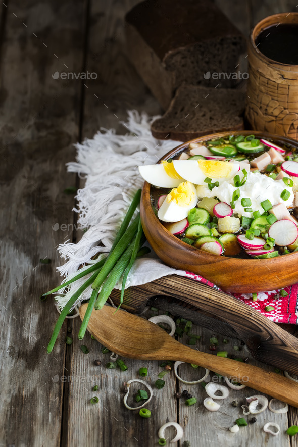 Russian cold soup okroshka background - Stock Photo - Images