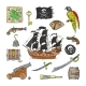 Piratic Vector Pirating Sailboat and Parrot - GraphicRiver Item for Sale