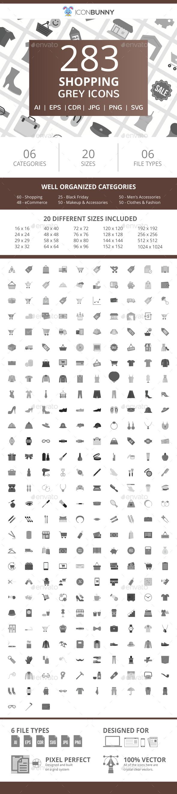 283 Shopping Flat Greyscale Icons - Icons