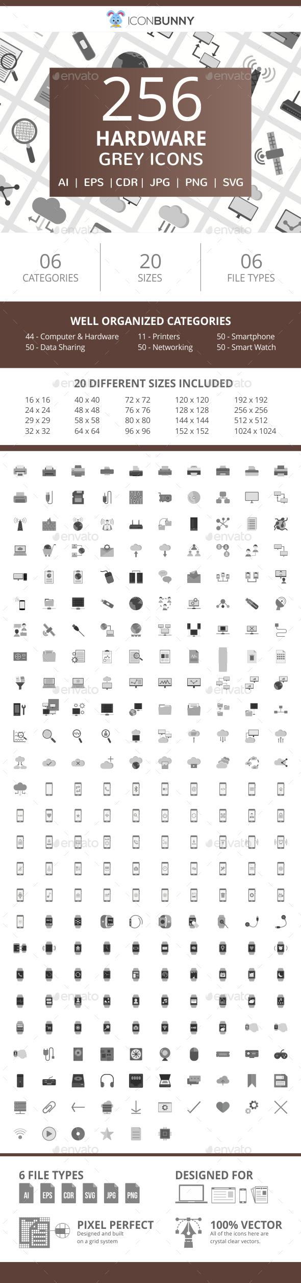 255 Hardware Flat Greyscale Icons - Icons