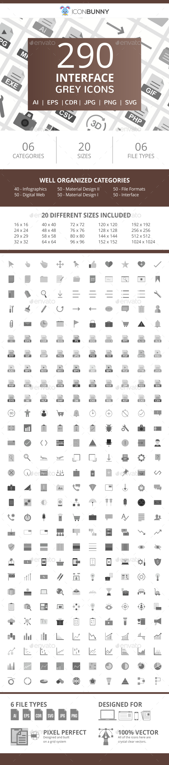 290 Interface Flat Greyscale Icons - Icons
