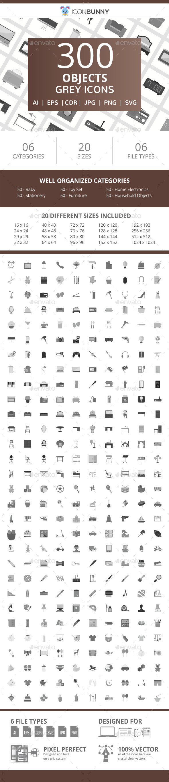 300 Objects Flat Greyscale Icons - Icons