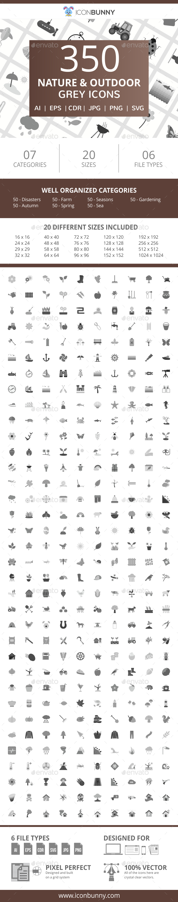 350 Nature & Outdoor Flat Greyscale Icons - Icons