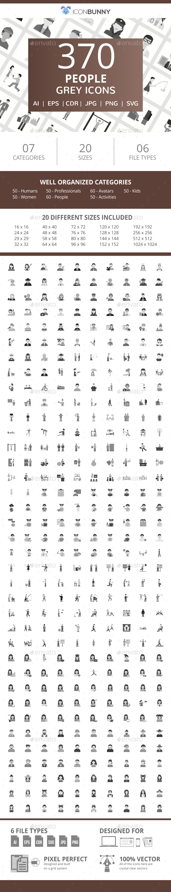 370 People Flat Greyscale Icons - Icons