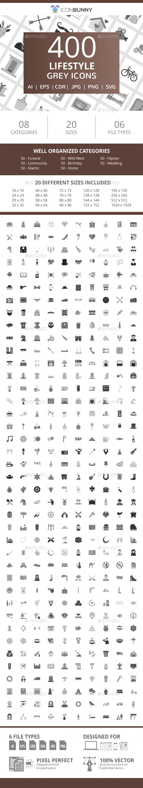 400 Lifestyle Flat Greyscale Icons - Icons