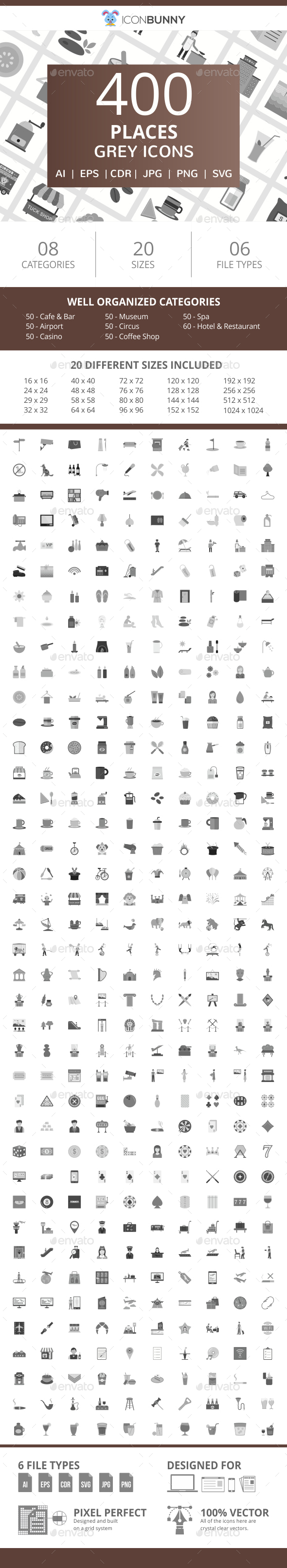 400 Places Flat Greyscale Icons - Icons