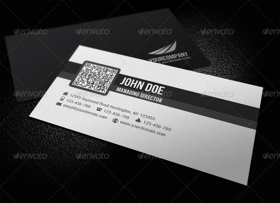 Simple Corporate QR Code Business Card by glenngoh | GraphicRiver