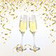 Glasses with Champagne and Golden Confetti - GraphicRiver Item for Sale