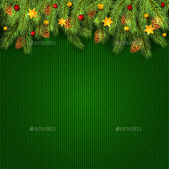 christmas decorations on green knitted background with fir tree branches christmas seasonsholidays - Christmas Tree Branches